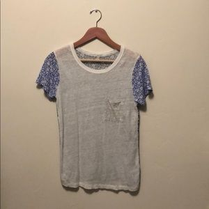 J. Crew sheerish XS linen pocket tee EUC floral